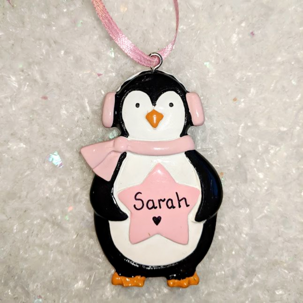 Personalised Penguin with Star Christmas Tree Decoration Pink